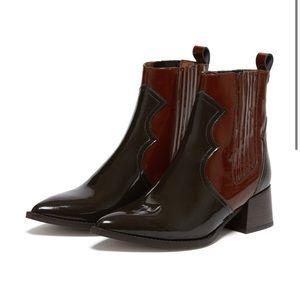 MIISTA Minea Dark Brown Patent Leather Boots